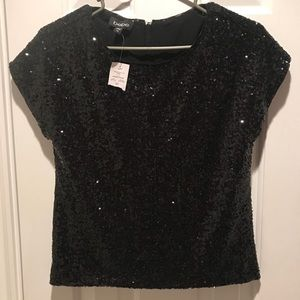 BEBE SEQUIN BOXY TOP NWT